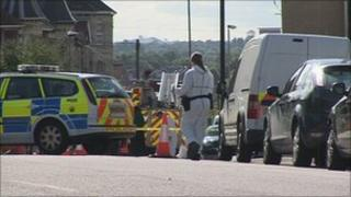 Police cordon on the Wells Road