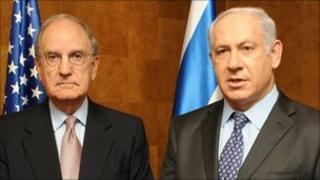 George Mitchell and Mahmoud Abbas in Caesarea, Israel on 29 September, Israeli Government Press Office handout
