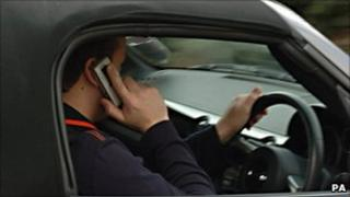Driver using a mobile phone