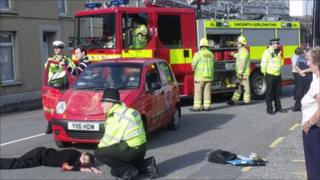 Mock accident on Marine Street in Llanelli