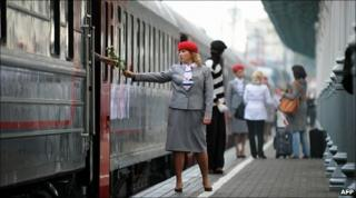 A conductor of a new luxury train running between Moscow and Nice