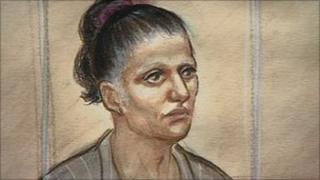 Court artist's impression of Lisa Riozzi
