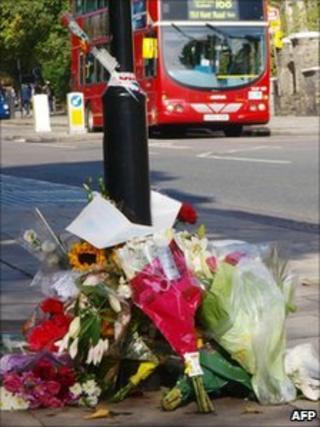 Flowers at crash scene