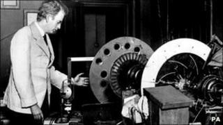 John Logie Baird with his televisor in 1926
