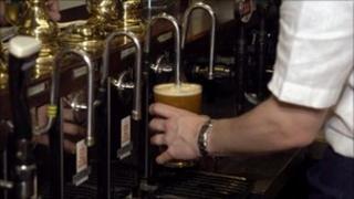 Pint of beer in a pub