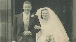 Gordon and Jean Hardy on their wedding day in 1953