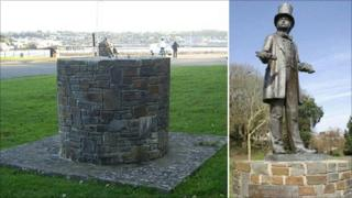 The empty plinth and the statue that was stolen