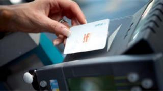 An Iff Card is held up to a machine