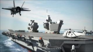 Computer generated image of proposed new aircraft carrier