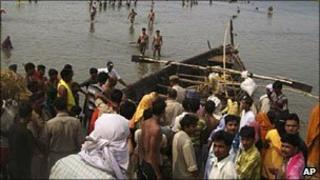 File picture of passenger boats in India