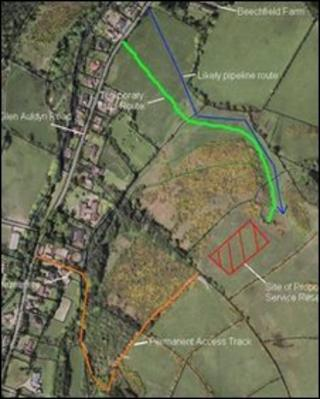 Red hatched area marks location of proposed reservoir (Pic: Manx government)