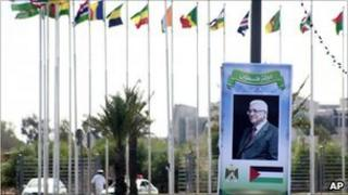 A poster of Mahmoud Abbas in Sirte, Libya