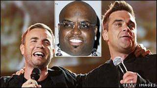 Gary Barlow and Robbie Williams with Cee Lo Green (inset)