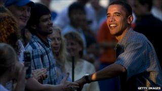 President Barak Obama with voters during his presidential campaign