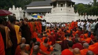A gathering of Buddhist monks in Kandy, Sri Lanka