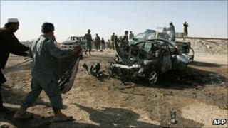 Scene of a suicide attack in Ghazni province. 28 September 2010
