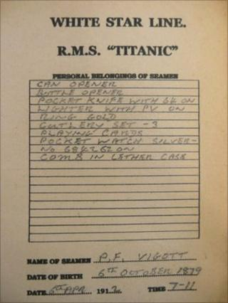 Chitty slip from RMS Titanic