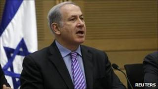 Benjamin Netanyahu speaks during a Likud party meeting