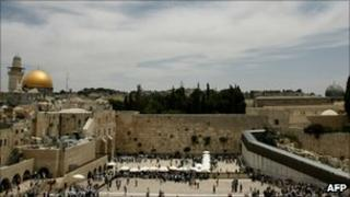 Western Wall plaza and the Al-Aqsa mosque compound (background) in Jerusalem's old city