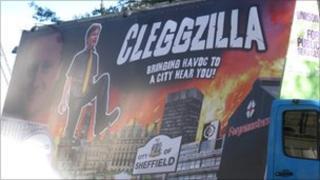 Cleggzilla protest poster