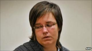 Els Clottemans reacts as as she hears the verdict of the jury