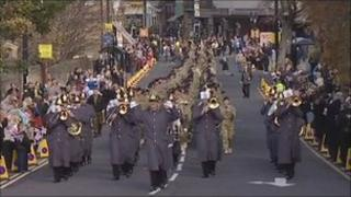 The soldiers of 4 Regiment Royal Artillery parading in Sunderland
