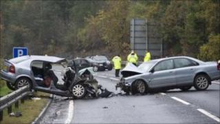 A9 crash scene