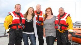 Charlotte and Hannah with members of Exmouth RNLI