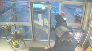 CCTV of security guard robbery