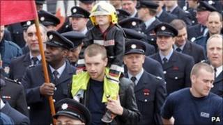 Firefighters protested through the streets of London in September