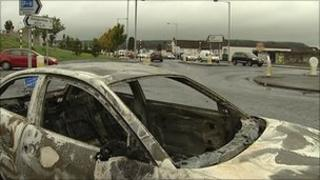 Several vehicles were burnt out during the trouble on Monday evening