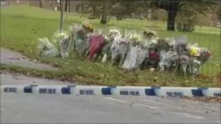 Tributes at the scene of the stabbing