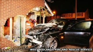 The BMW that crashed into a house in Oldbury