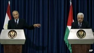 Ahmed Aboul Gheit and Mahmoud Abbas in Ramallah, October 28