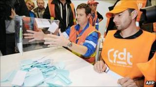 Striking employees at the Total refinery in Donges count ballots on whether to continue industrial action or not, Donges, France