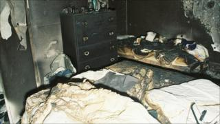 The fire-damaged room