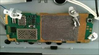 A circuit board that was attached to a printer cartridge loaded with explosives found aboard a plane at East Midlands Airport