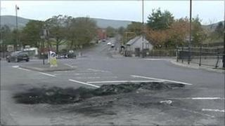 Scorch damage on road in Draperstown