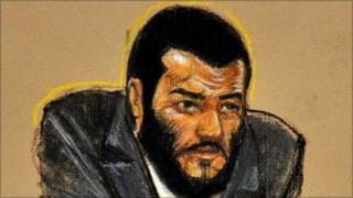 Omar Khadr in a sketch from a courtroom at Guantanamo Bay