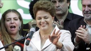 Dilma Rousseff addresses supporters in Brasilia