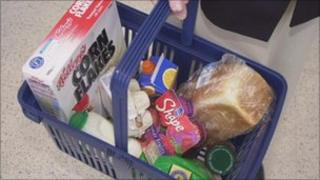 A shopping basket containing food