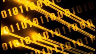 Binary code and fibre optic strands