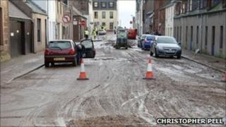 Stonehaven town centre after floods last November