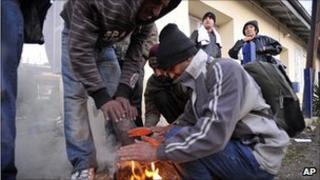 Illegal migrants at Vissa station, northeastern Greece, 31 Oct 10