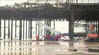 Engineers at Hastings Pier