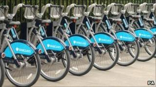 Cycles for hire in docking stations