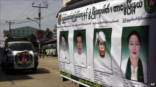 Posters of USDP candidates in Rangoon, Burma, on 31 October 2010