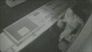 Shop's CCTV of burglar