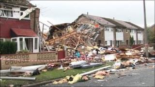 The destroyed homes in Irlam