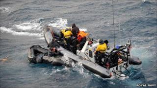 HMS Cornwall dinghy rescue